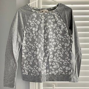 Loft Grey and White Leopard Crew Neck